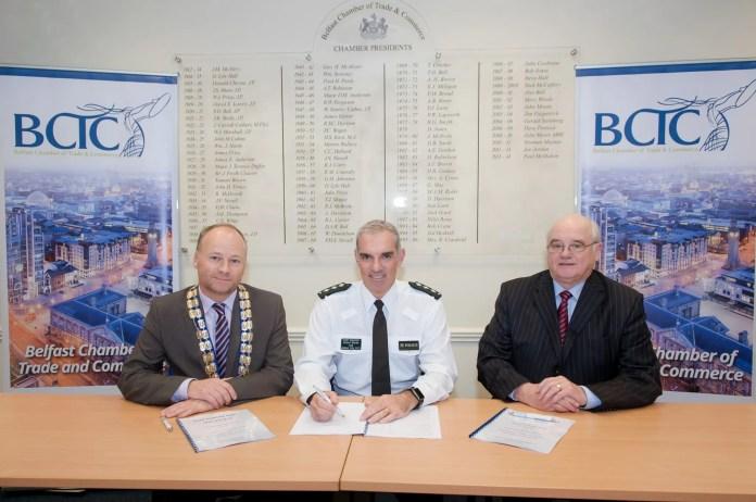 Pictured is Hugh Black, President, BCTC alongsideChief Inspector Robert MurdieandWilliam McGivern, Chairman, Belfast City Centre Management.
