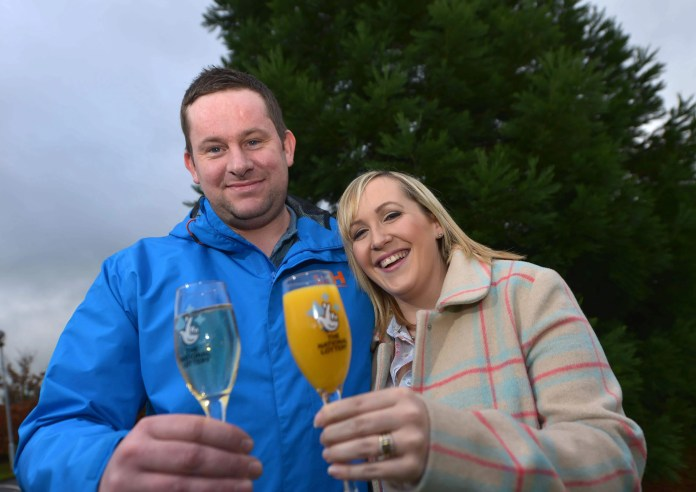 County Armagh man Ross Hearst celebrates £4m scratchcard win with wife Jocelyn.