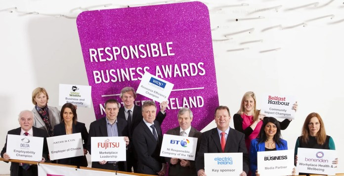 Launching the 2016 Responsible Business Awards in Northern Ireland are (from left): Terry Cross, Delta Packaging; Jennifer Fulton, Ulster Wildlife Trust; Catriona Gibson, Arthur Cox; Chris James, Fujitsu; Ian Garner, WRAP; Kieran Harding, Business in the Community; Alex Crossan, BT; Niall Dineen, Electric Ireland; Jenni Barkley, Belfast Harbour; Sonia Armstrong, Ulster Business and Helen Smith, Benenden. Applicants can apply online now at www.bitcni.org.uk and must submit their entries by Friday 25 March. Winners will receive their awards at a gala event on Thursday 2 June.
