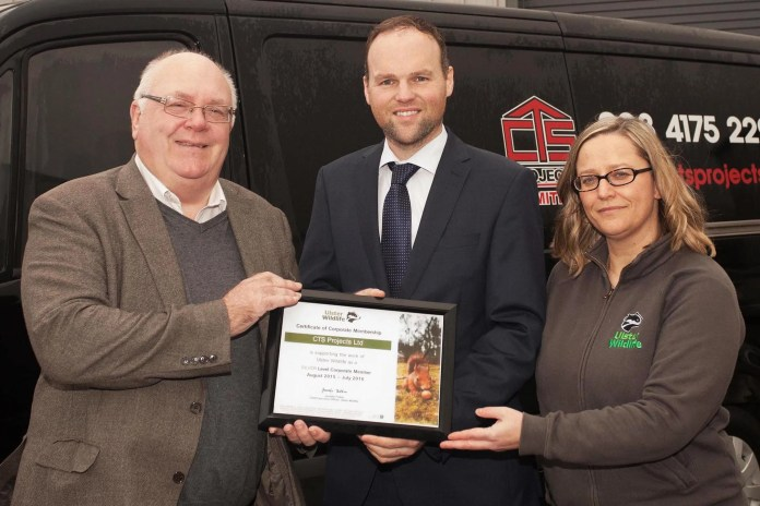 Ulster Wildlife warmed by CTS Project's support Ulster Wildlife welcomed CTS Projects as a Silver Level Corporate Member at a certificate presentation held at the company's Warrenpoint headquarters on Thursday 21st January.    As a corporate partner, CTS Projects will play their part in helping Ulster Wildlife protect the environment from over development and biodiversity loss through staff volunteering days, sponsorship and education projects. Pictured is (l-r) Ken Brundle, Vice Chairman of Ulster Wildlife, Connaire McGreevy, Managing Director of CTS Projects and Vickie Chambers, Supporter Relationship Manager for Ulster Wildlife.