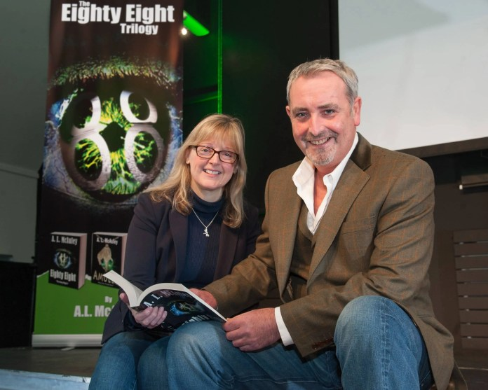 Sharon Barry, Belfast-based consultant and avid reader, meets author A.L. McAuley at the launch of his supernatural trilogy, Eighty Eight, at the Linen Hall Library in Belfast on Saturday 16 January.