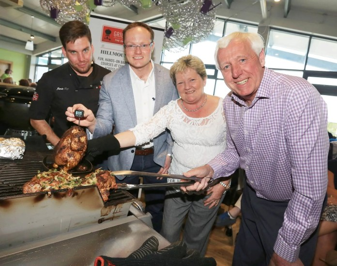 Jamie Foy of Weber with the Mercer Family at Hillmount Garden Centre who have won a national award for their BBQ team. www.hillmount.co.uk
