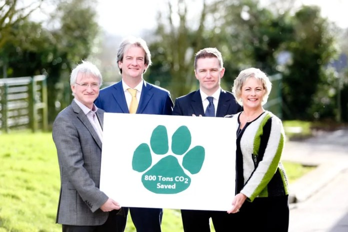 CO TYRONE PETFOOD COMPANY REDUCE THEIR CARBON 'PAW PRINT'.  firmus energy celebrates the connection of their first company in Co Tyrone, Mackle Petfoods based in Moy.  Pictured at the official switch on are John Mackle, Managing Director, Mackle Petfoods;  Michael Scott, Managing Director, Eric Cosgrove, Director of Engineering, firmus energy and Jenny Pyper, Chief Executive, Utility Regulator.