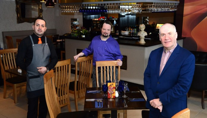 (L-R) Assistant Manager Ionut Danaila, Head Chef Will Crawford, Owner Richard Graham Pic 1