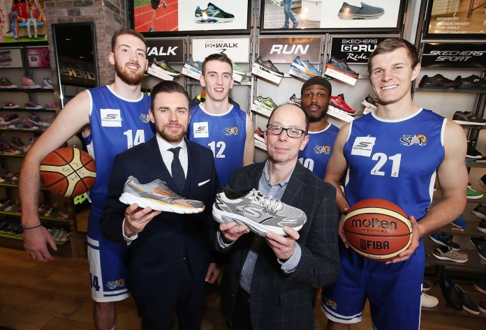 @Press Eye Ltd Northern Ireland- 20th April 2016 Mandatory Credit -Brian Little/Presseye Belfast Star Basketball team members (l-r) Sasha Seymore, Liam Pettigrew, Ant Lessane and Keelan Cairns along with coach Neal McCotter (front left) and Kieran Quinn (Skechers) announed the team sponsored by Skechers for the forthcoming Irish Premier League. Picture by Brian Little/Presseye