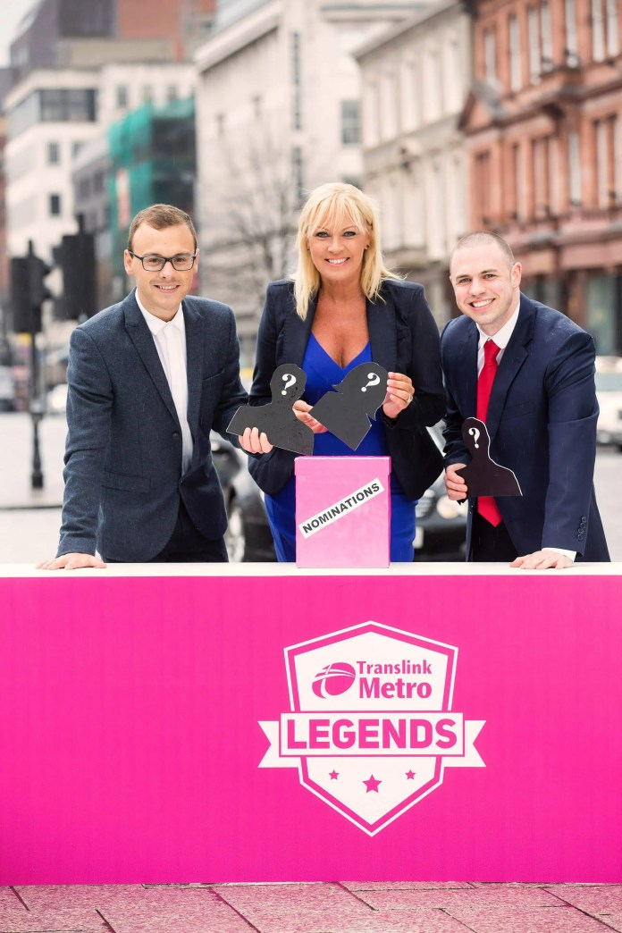 Calling all Legends! Translink has launched a new 'Metro Legends' campaign calling on the public to nominate their favourite Belfast living legends to be celebrated on a unique Metro double decker bus wrap. Nominations are now open until 17th April 2016 - click www.translink.co.uk/metrolegends/ for full details and join the conversation online @ Translink_NI #metrolegends. Pictured at the campaign launch are three of the Metro Legends shortlisting judges l-r Paulo Ross, radio DJ, Alison Clarke, Founder, ACA Models, and Diarmaid Elder, member of the Metro Passenger Group.The official Metro Legends double decker bus will be unveiled to the public during Bus & Train Week, 6 - 12 June 2016.