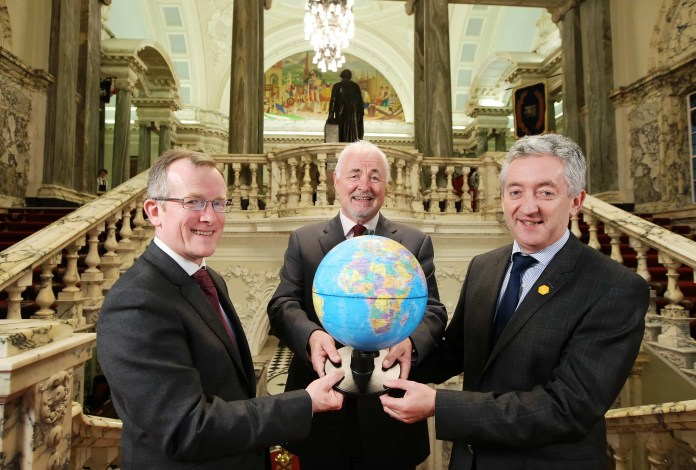 Press Release image  Press Eye - Northern Ireland - 12th April 2016 -  Tourism NI Chairman Terence Brannigan, centre, Niall Gibbons, Chief Executive of Tourism Ireland, left, and  John McGrillen Chief Executive of Tourism Northern Ireland are pictured at the Meet the Buyer event where over 100 international buyers from more than a dozen key tourism markets arrived in Belfast for the event organised by Tourism NI in association with Tourism Ireland. Ê Picture by Kelvin Boyes / Press Eye.