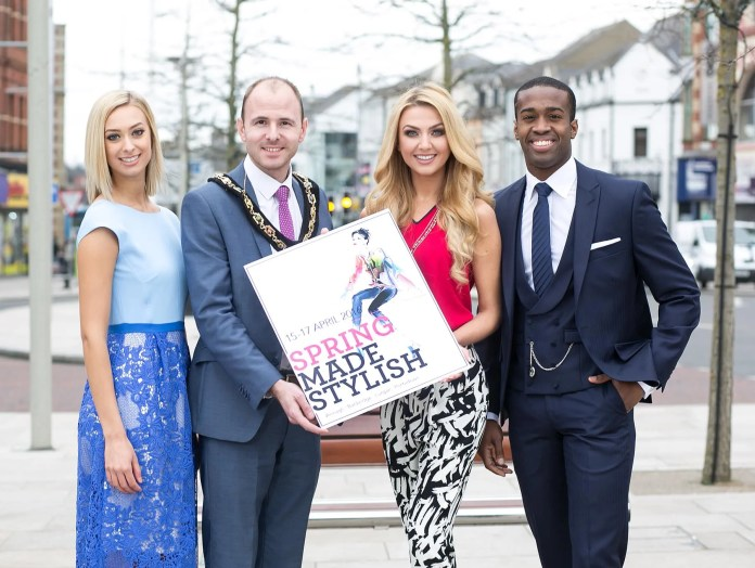 """SPRING MADE STYLISH: Style-seekers have only a few days left to wait before strutting their stuff at the hotly-anticipated """"Spring Made Stylish"""" festival weekend, which takes place across Armagh City, Banbridge, Lurgan and Portadown from the 15th – 17th April. Officially launching the event is Cllr Darryn Causby, Lord Mayor of Armagh City, Banbridge and Craigavon, who is pictured with model Sarah Moore, former Miss Northern Ireland Meagan Green, and current Mr Northern Ireland and Lurgan local, Dwayne Kerr, all of whom have been kitted out with clothes available from local retailers. For a full listing and information on what events require pre-booking or tickets visit www.springmadestylish.com"""