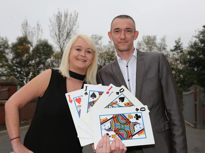 Gemma Herdman and Chris McKay from Tennent's NI's charity fundraising team are hoping a 'Full House' is on the cards for a Charity Casino Night at the Beechlawn Hotel on Saturday 19th November, in aid of CLIC Sargent Northern Ireland, as they launch ticket sales. To book tickets (£40 each), email Bronach.Neill@tennentsni.com.  Photo by Stephen McCracken.