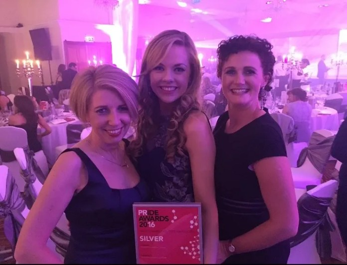 Claire Bonner, Director at Morrow Communications; Robyn McMurray, Communications Manager at Morrow Communications; and Jane Watson, Events Director at Morrow Communications, at the CIPR PRide Awards ceremony