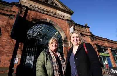 Secretary of State Karen Bradley at St Georges Market Belfast