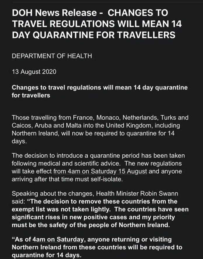 France, Netherlands, Malta and more added to UK quarantine list