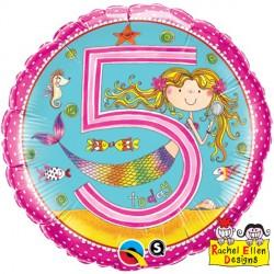 Happy 5th Birthday Mermaid Standard Balloon Love Blossoms Balloons