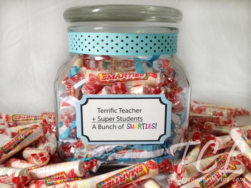 Smarties Treat Jar Teacher Appreciation Gift
