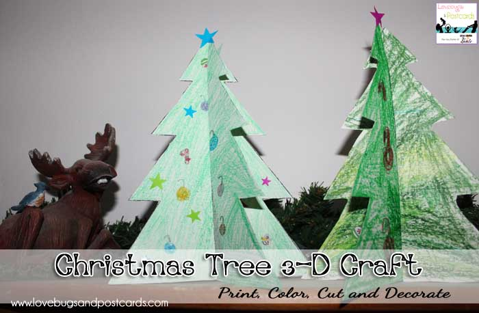 Printable Coloring Page Christmas Tree 3-D Craft