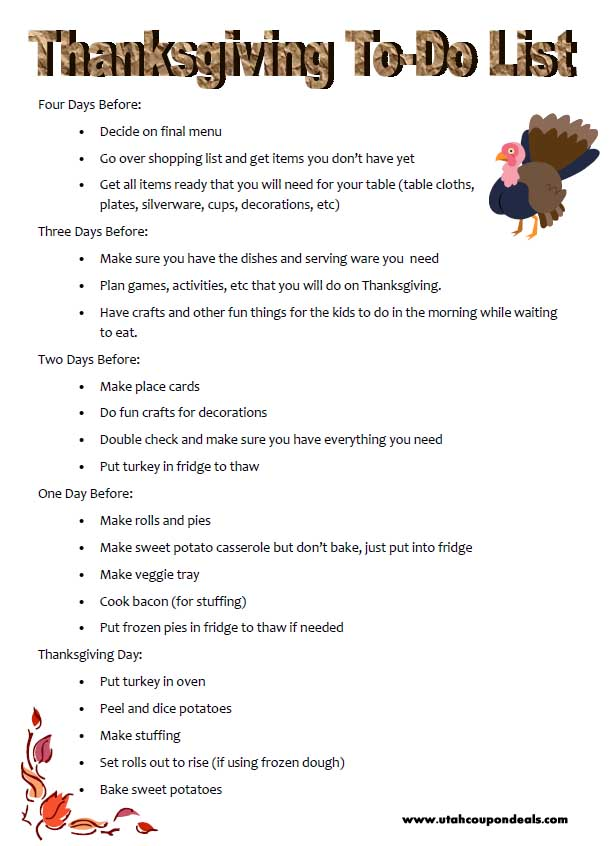 Thanksgiving To Do List - take the stress out by planning ahead