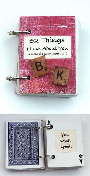52 Things I Love About You Book (made with playing cards) - 10 DIY Valentine's Day Projects