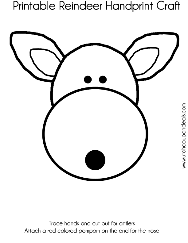 Printable Reindeer Face Craft (Antlers or Handprints)