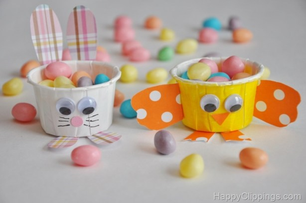 15 Easter Craft Ideas {chicks, bunnies, lambs, and more} - DIY: Mini Party Cup Chick and Bunny Craft