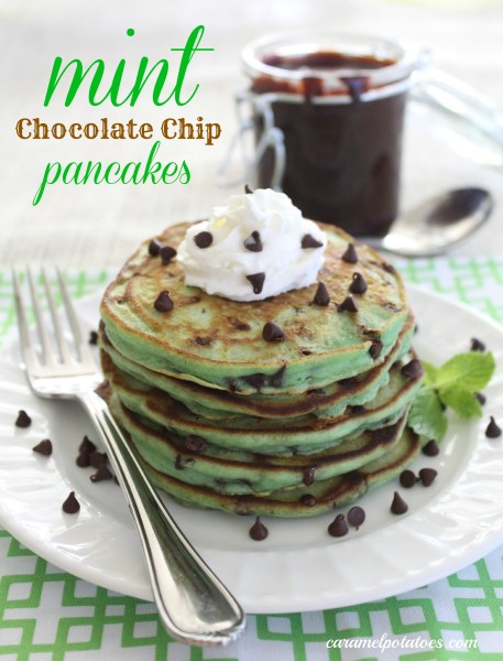 17 St. Patrick's Day Treats {easy, fun, and colorful} - Mint Chocolate Chip Pancakes
