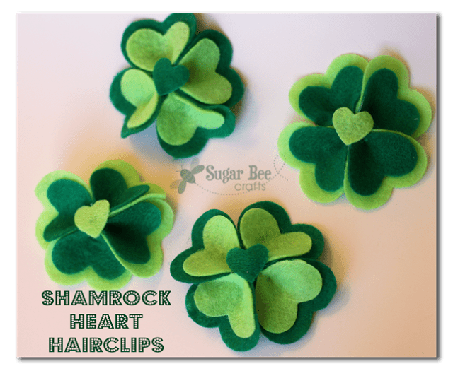 DIY Shamrock Heart Hairclips