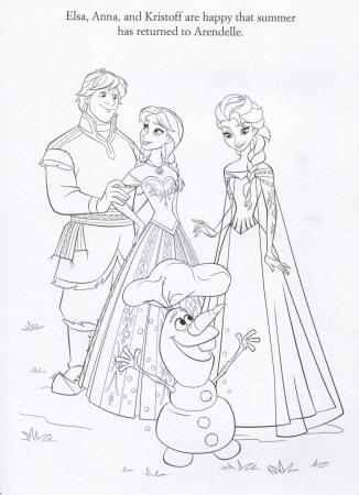 FROZEN Elsa, Anna, Kristoff and Olaf Coloring Page
