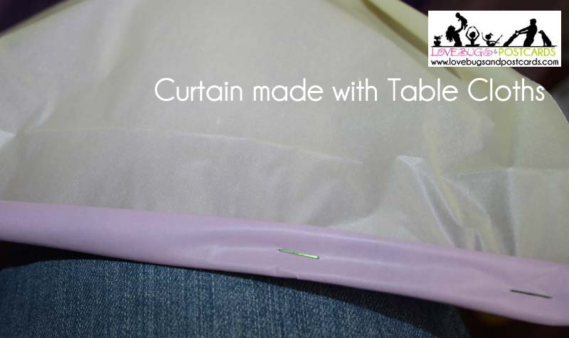 DIY Curtain made from Tablecloths (perfect for party and holiday decor)