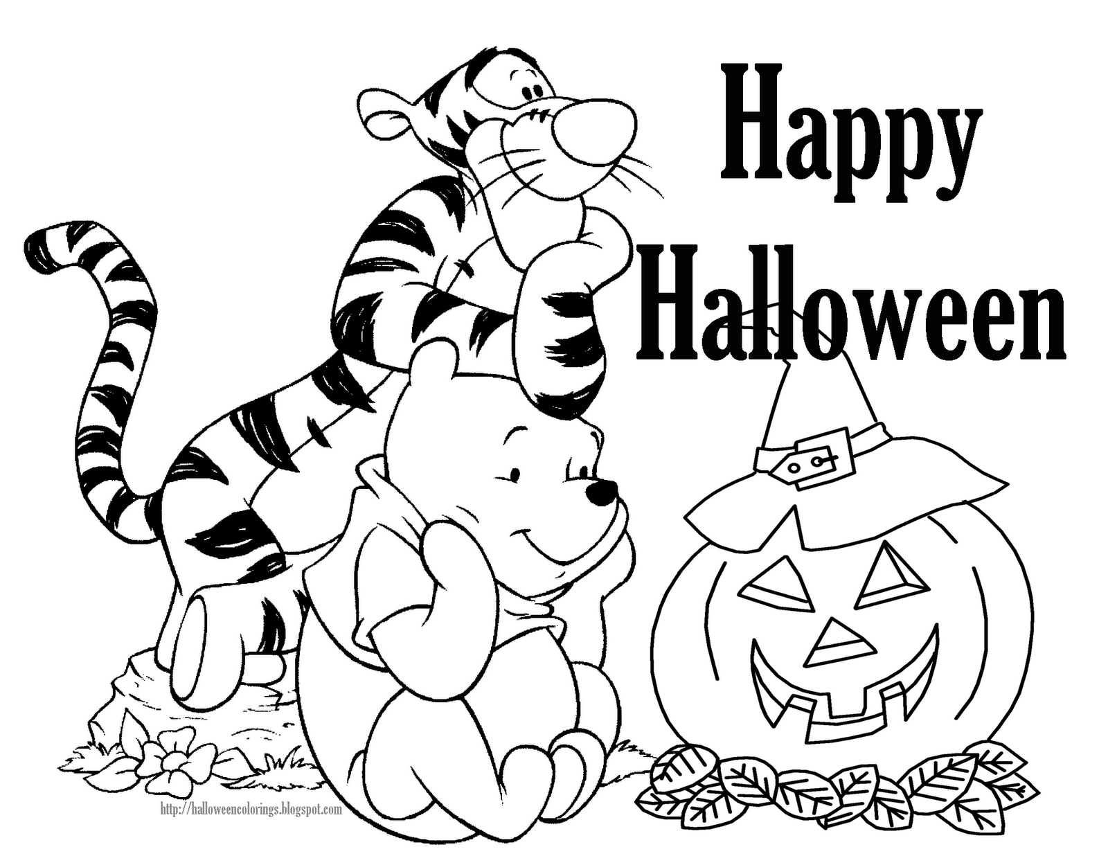 tigger and pooh free disney halloween coloring pages - Halloween Coloring Pages Disney