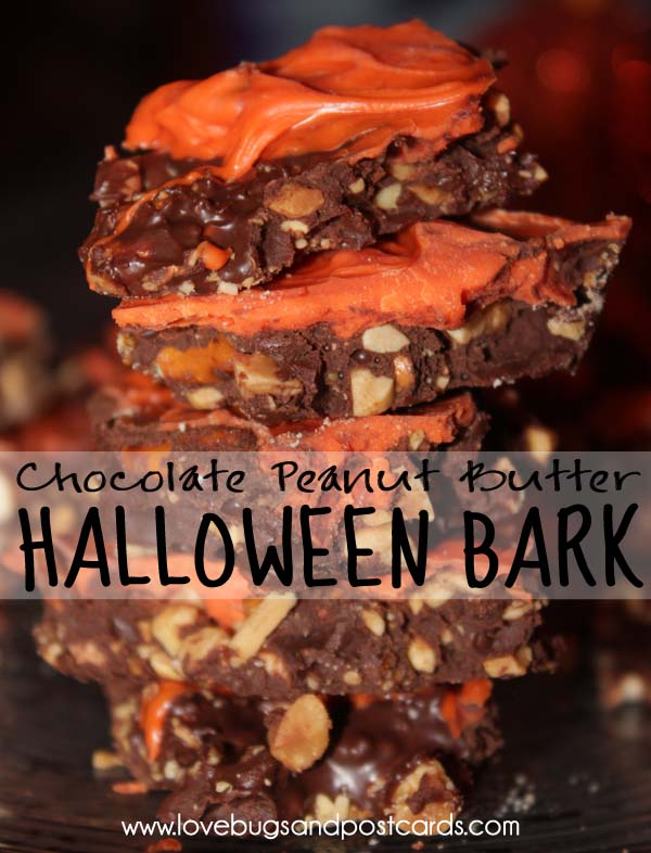 Halloween Bark {Chocolate Peanut Butter}
