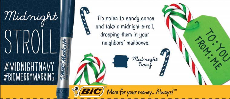 Midnight Stroll with Candy Canes #BicMerryMarking