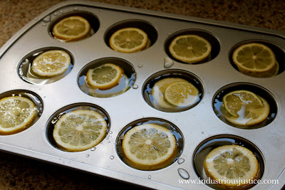 Freeze Lemons and Limes in a Muffin Pan with liquid to make large ice cubes for pitchers