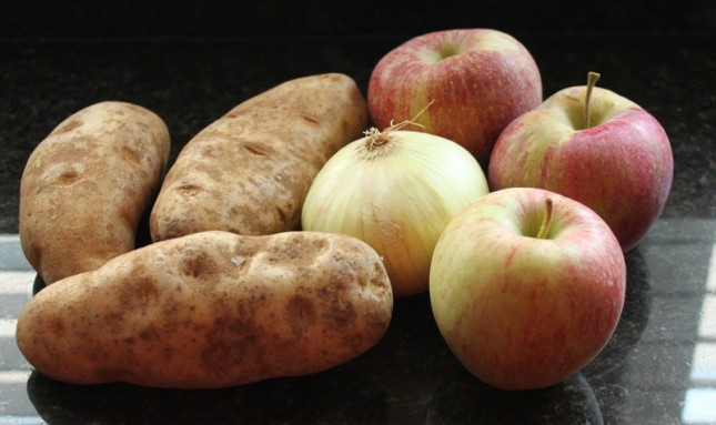 Store apples and potatoes together and avoid the onions