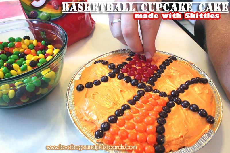 Basketball Cupcake Cake (made with Skittles)