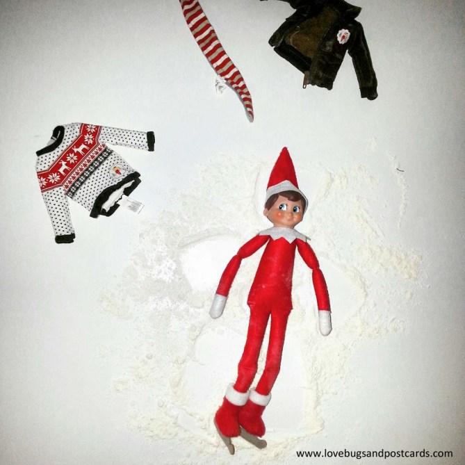 Elf on the Shelf Ideas - Elf Angel with Snow (flour)
