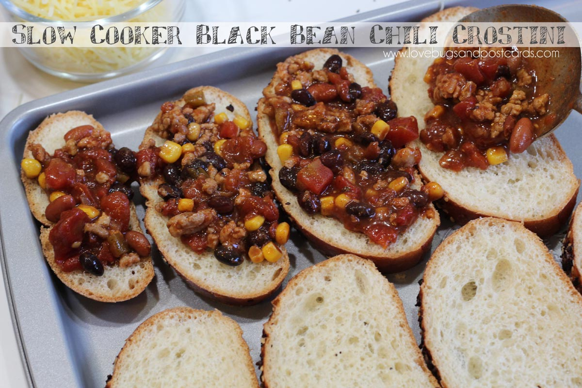 Slow Cooker Black Bean Chili Crostini and Raspberry Pineapple Mocktail with Fruit Juice Ice Cubes