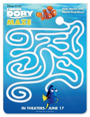 Finding Dory Maze Activity Sheet
