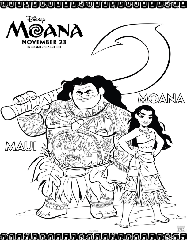 MAUI and MOANA Coloring Page - Disney's Moana