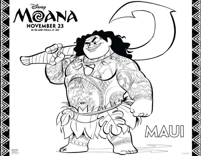 MAUI Coloring Page - Disney's Moana