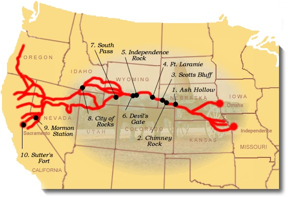 Suggested sites to see on the California National Historic Trail. NPS Image