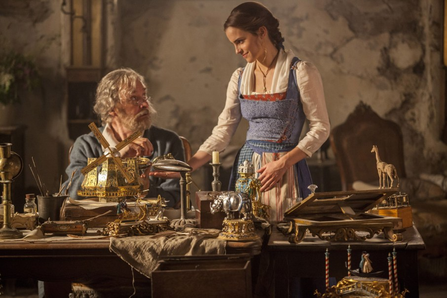Emma Watson stars as Belle and Kevin Kline is Maurice, Belle's father.