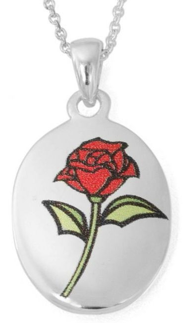 "Disney Silver-Plated Beauty and the Beast ""Beauty Is Found Within"" Rose Pendant, 18"" Chain"