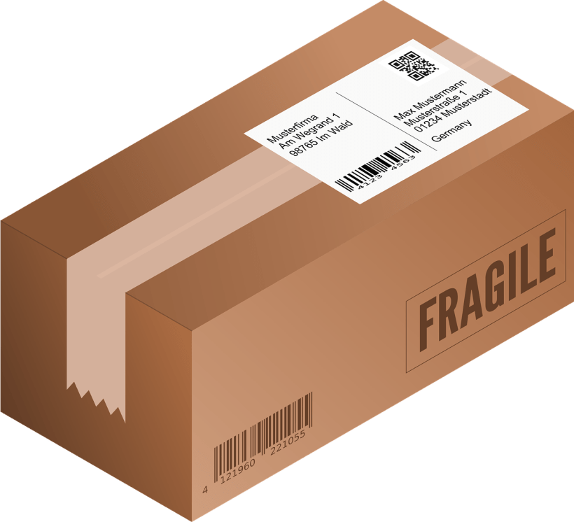 Photo of a box ready for delivery