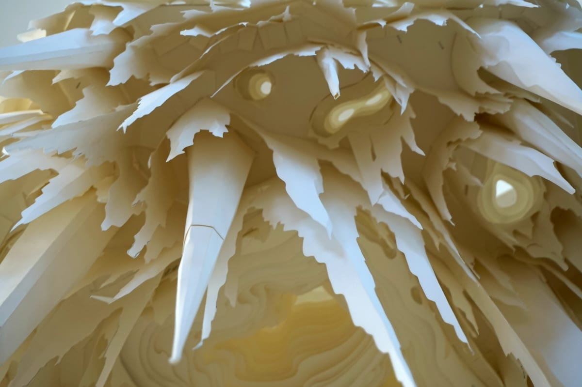 Paper sculpture close up