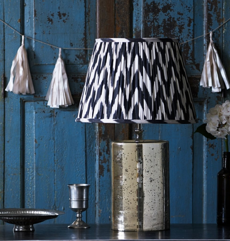 Pooky, Alvie table lamp in Mercurised, Zig Zag Silk Ikat shade