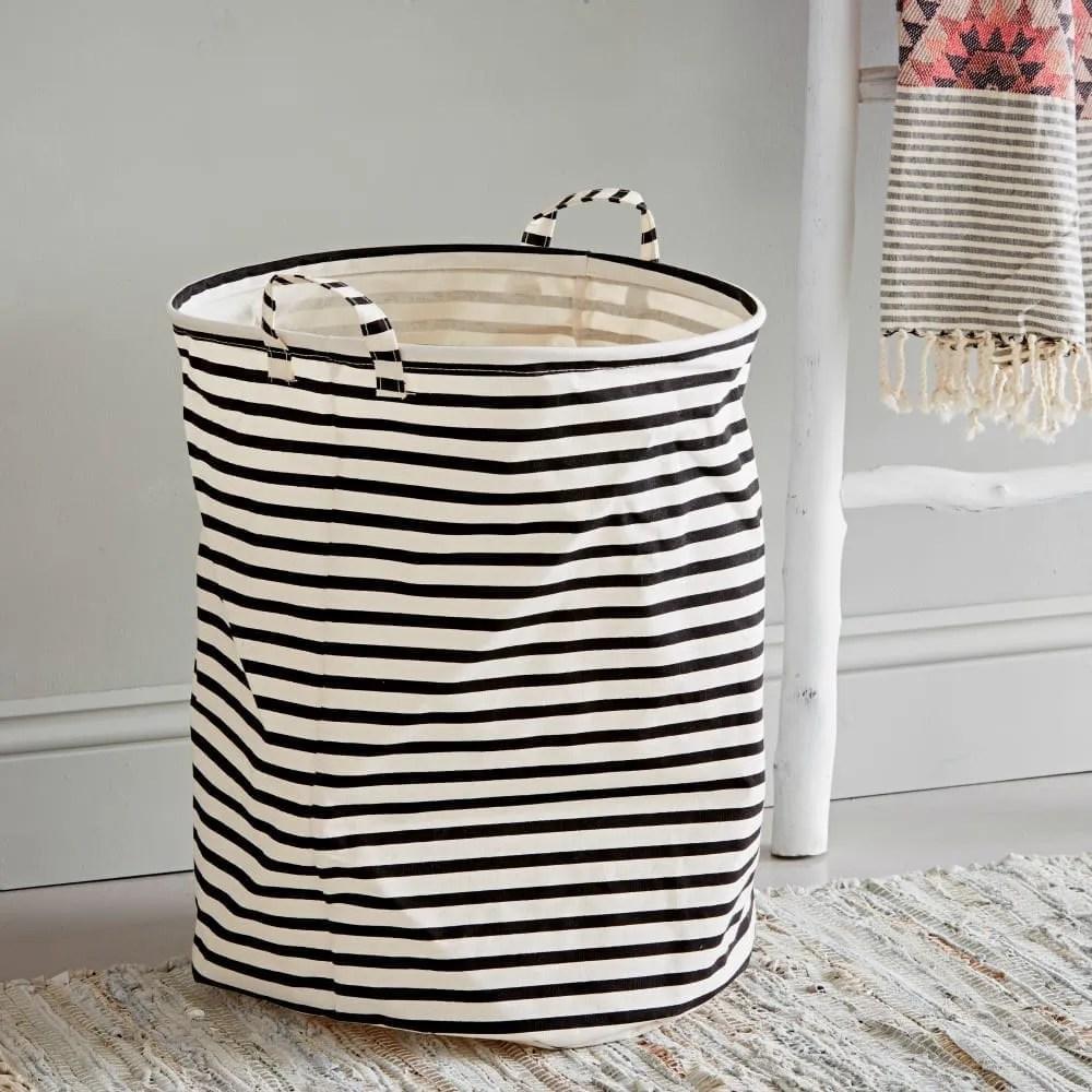 Black and White Fabric Laundry Bin