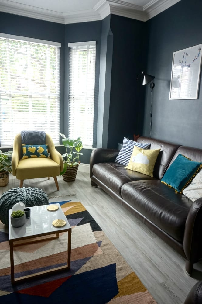Living Room Makeover With Dark Walls And Pops Of Colour, Plus Vinyl  Flooring And Contemporary Part 98
