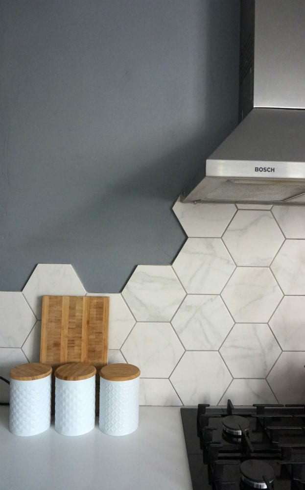 Hexagonal wall tiles from British Ceramic Tile in the new kitchen makeover.