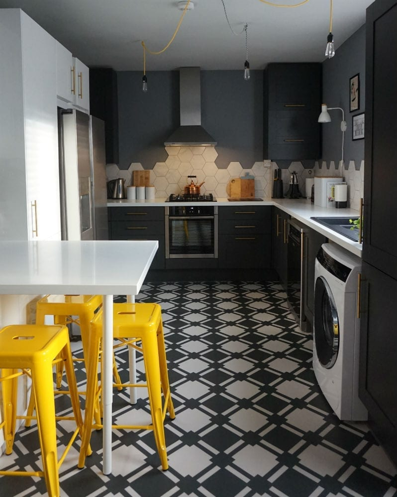 Monochrome kitchen with white worktop