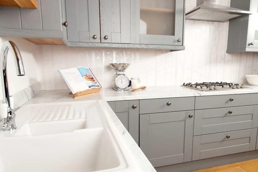 White marble laminate kitchen worktop