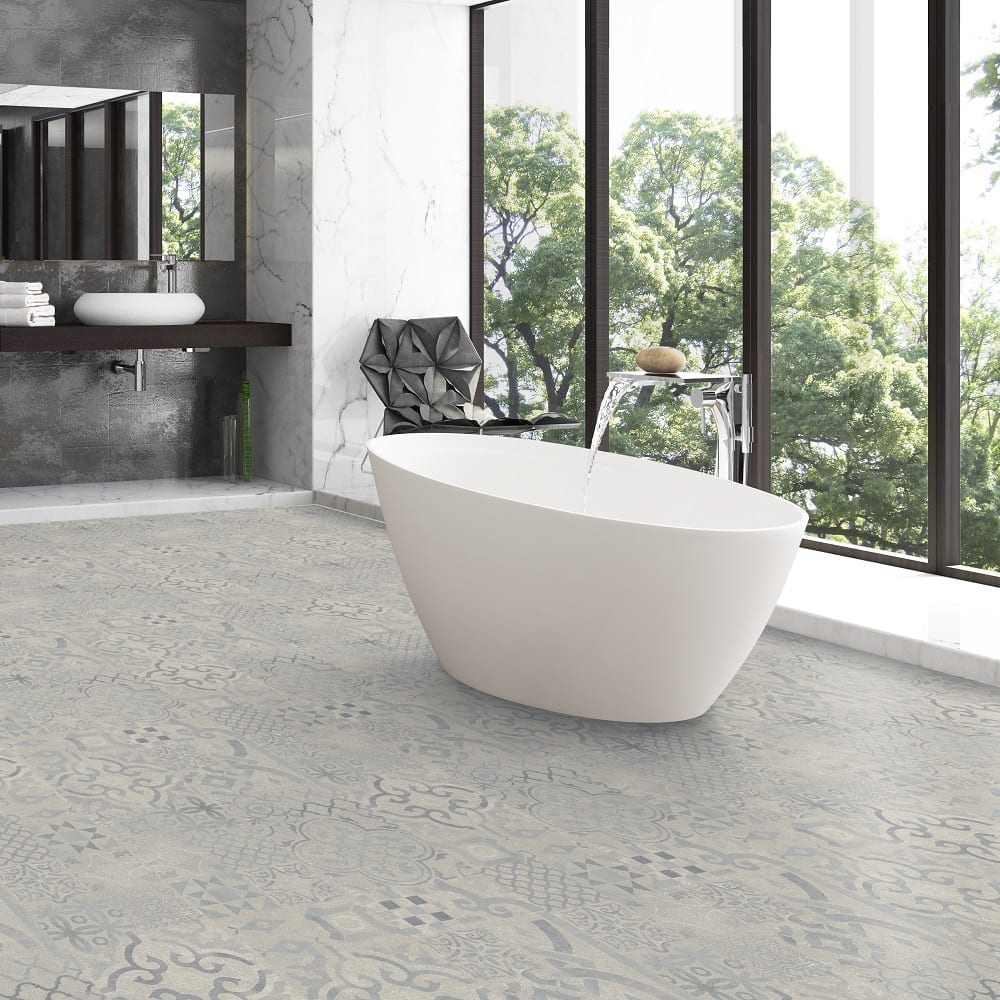 pretty laminate tiles on bathroom floor